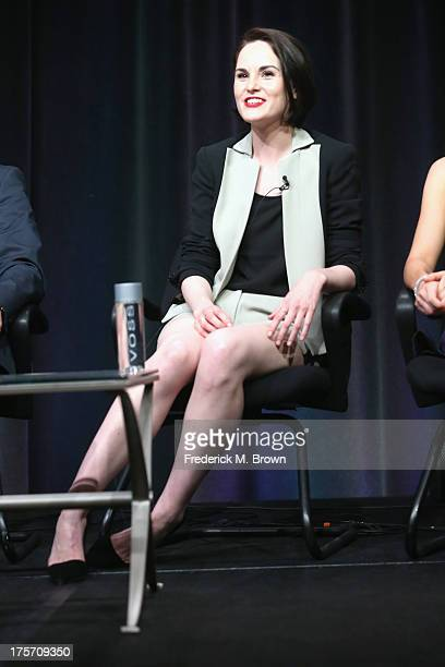 Actress Michelle Dockery speaks onstage during the 'Downton Abbey' panel at the PBS portion of the 2013 Summer Television Critics Association tour at...
