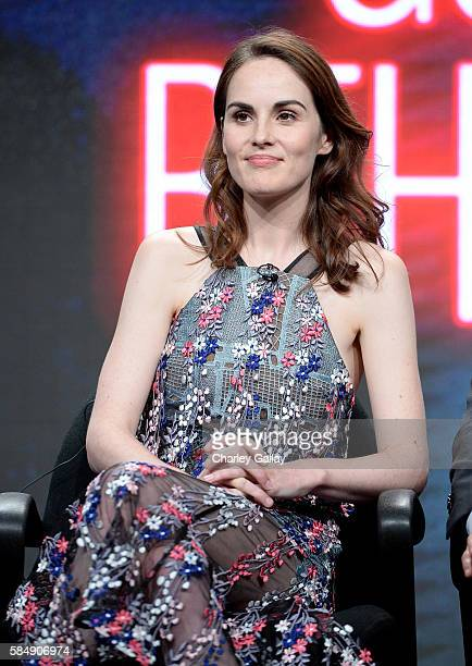 Actress Michelle Dockery speaks onstage during the 'Good Behavior' panel at the TCA Turner Summer Press Tour 2016 Presentation at The Beverly Hilton...