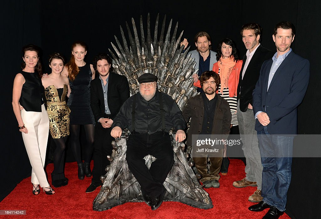 Actress Michelle Fairley, actress Maisie Williams, actress Sophie Turner, actor Kit Harrington, writer George R.R. Martin, actor Peter Dinklage, actor Nikolaj Coster-Waldau, actress Lena Headey, creator David Benioff and creator D.B. Weiss attend the Academy of Television Arts & Sciences an evening with HBO's 'Game Of Thrones' at TCL Chinese Theatre on March 19, 2013 in Hollywood, California.