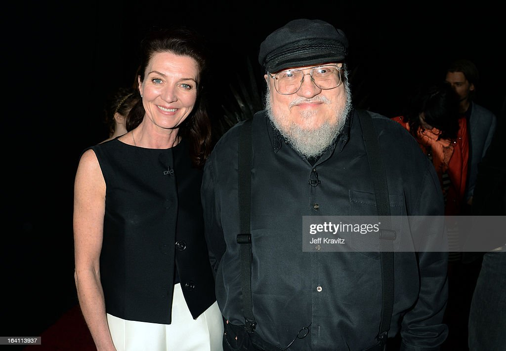 Actress Michelle Fairley and writer george R.R. Martin attend the Academy of Television Arts & Sciences an evening with HBO's 'Game Of Thrones' at TCL Chinese Theatre on March 19, 2013 in Hollywood, California.