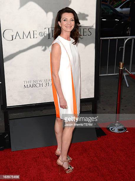 Actress Michelle Fairley arrives at the premiere of HBO's Game Of Thrones Season 3 at TCL Chinese Theatre on March 18 2013 in Hollywood California