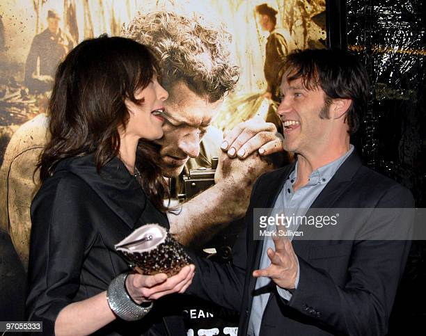 Actress Michelle Forbes and actor Stephen Moyer arrive at the Los Angeles premiere of The Pacific on February 24 2010 in Los Angeles California