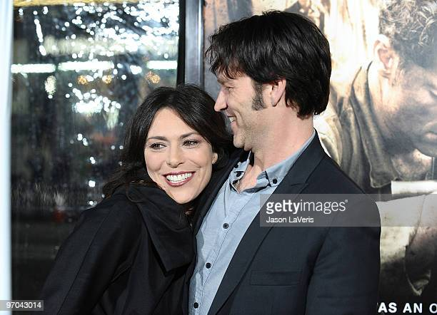 Actress Michelle Forbes and actor Stephen Moyer attend the premiere of HBO's new miniseries The Pacific at Grauman's Chinese Theatre on February 24...