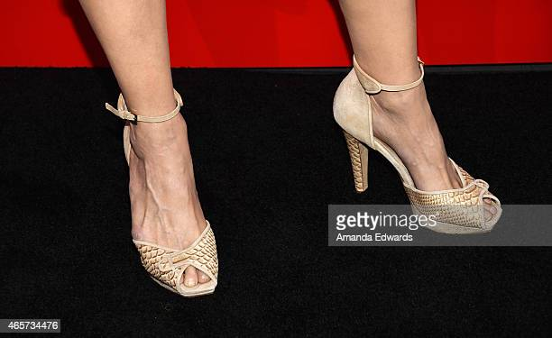 Actress Michelle Forbes shoe detail arrives at the PlayStation Sony Pictures Television series premiere of 'POWERS'at Sony Pictures Studios on March...
