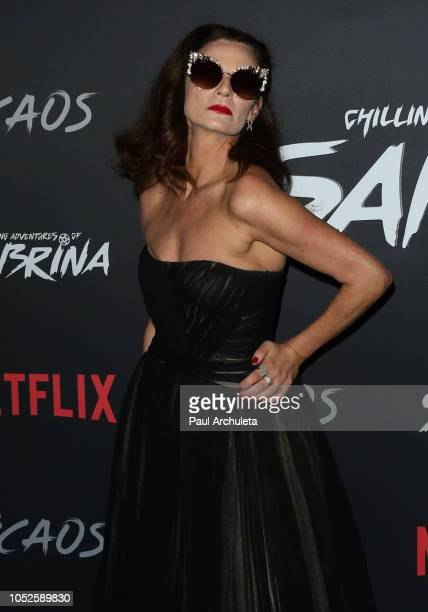Actress Michelle Gomez attends the premiere of Netflix's Chilling Adventures Of Sabrina at the Hollywood Athletic Club on October 19 2018 in...