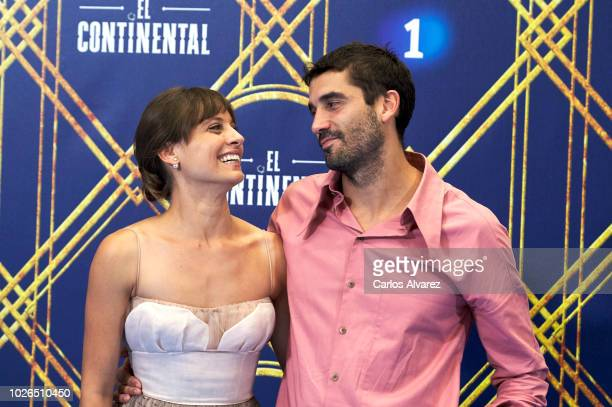 Actress Michelle Jenner and actor Alex Garcia attend 'El Continental' photocall at Palacio de Congresos Europa during the FesTVal 2018 Day 1 on...