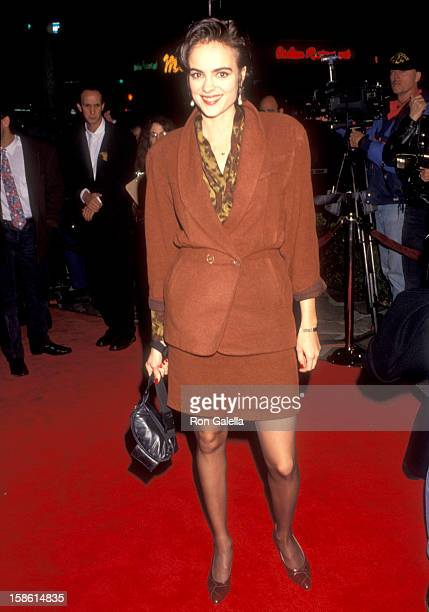 Actress Michelle Johnson attends the Sleeping with the Enemy Westwood Premiere on February 4 1991 at Mann Village Theatre in Westwood California