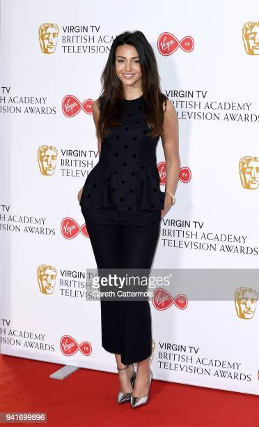 Actress Michelle Keegan attends a press conference as the nominations for the Virgin TV BAFTA TV awards are announced at BAFTA on April 4 2018 in...