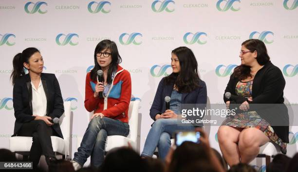 Actress Michelle Krusiec writer/director Alice Wu actress Lynn Chen and moderator Yael Tygiel speak at the 'Saving Face Reunion' panel during the...