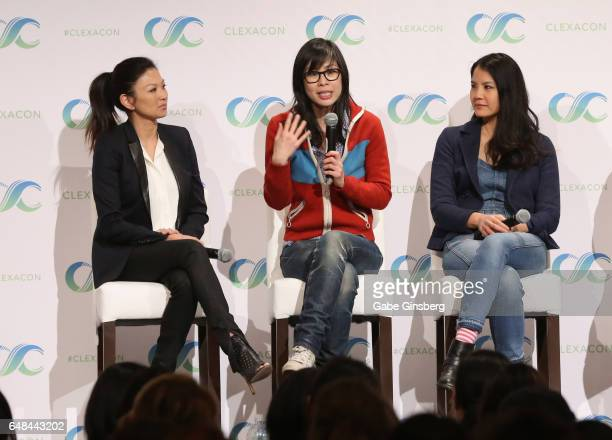 Actress Michelle Krusiec writer/director Alice Wu and actress Lynn Chen speak at the Saving Face Reunion panel during the ClexaCon 2017 convention at...