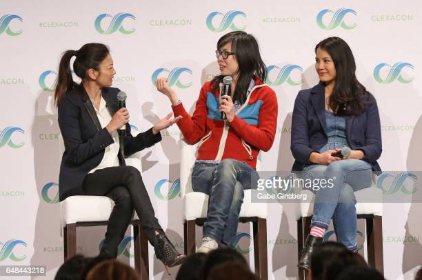 Actress Michelle Krusiec writer/director Alice Wu and actress Lynn Chen speak at the 'Saving Face Reunion' panel during the ClexaCon 2017 convention...