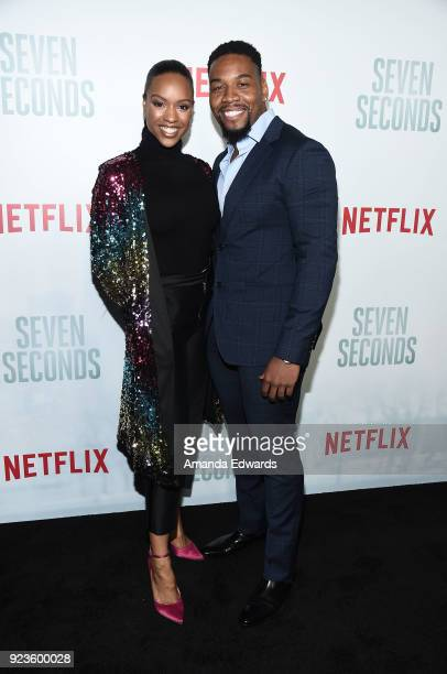 Actress Michelle Mitchenor and actor Coley Mustafa Speaks arrive at Netflix's 'Seven Seconds' Premiere at The Paley Center for Media on February 23...
