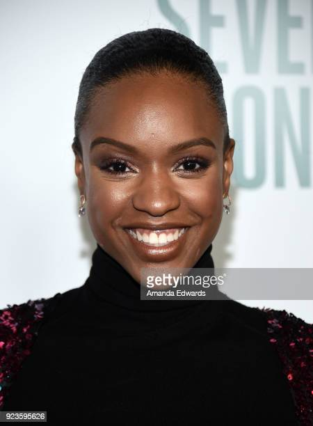Actress Michelle Mitchenor arrives at Netflix's 'Seven Seconds' Premiere at The Paley Center for Media on February 23 2018 in Beverly Hills California