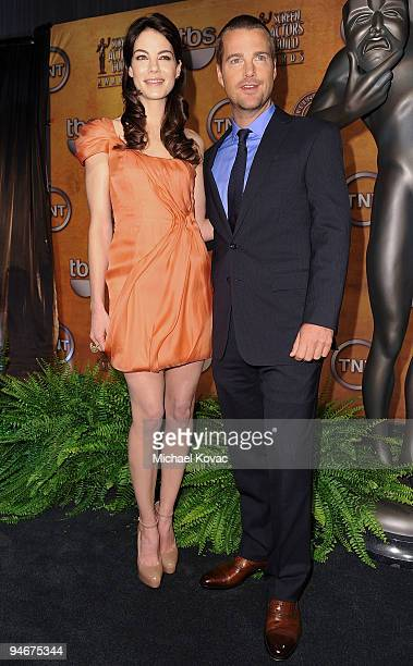 Actress Michelle Monaghan and actor Chris O'Donnell and pose during the 16th annual Screen Actors Guild awards nomination announcements held at the...
