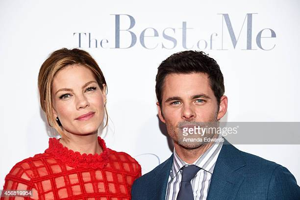 Actress Michelle Monaghan and actor James Marsden arrive at the Los Angeles premiere of The Best Of Me at the Regal Cinemas LA Live on October 7 2014...
