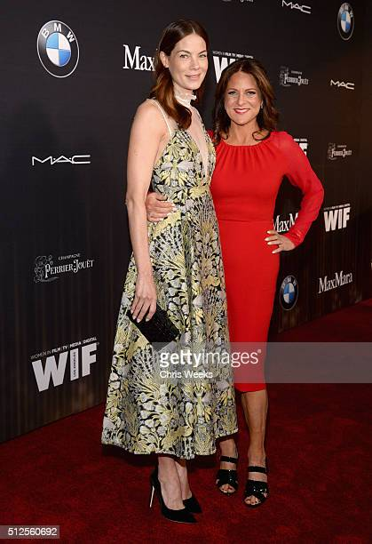 Actress Michelle Monaghan and president of Women In Film Los Angeles Cathy Schulman in Max Mara attend Ninth Annual Women In Film PreOscar Cocktail...