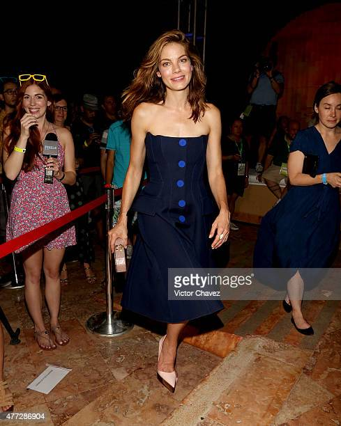 """Actress Michelle Monaghan attends the """"Pixels"""" photo call during Summer Of Sony Pictures Entertainment 2015 at The Ritz-Carlton Cancun on June 15,..."""