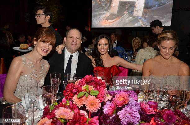 Actress Michelle Monaghan from left Harvey Weinstein cochairman and founder of Weinstein Co Georgina Chapman cofounder of Marchesa and model Bar...