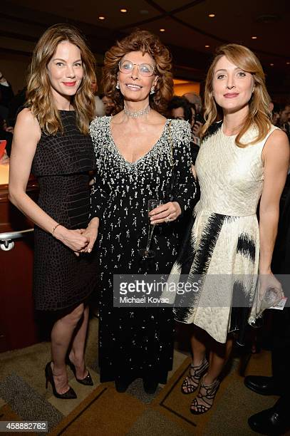 Actress Michelle Monaghan honoree Sophia Loren and actress Sasha Alexander attend the special tribute to Sophia Loren during the AFI FEST 2014...