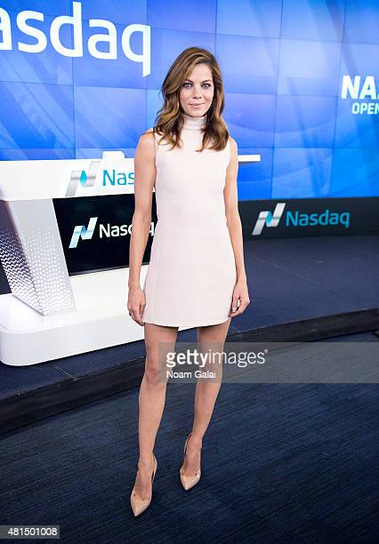 Actress Michelle Monaghan of Sony Pictures' 'Pixels' visit NASDAQ MarketSite on July 21 2015 in New York City
