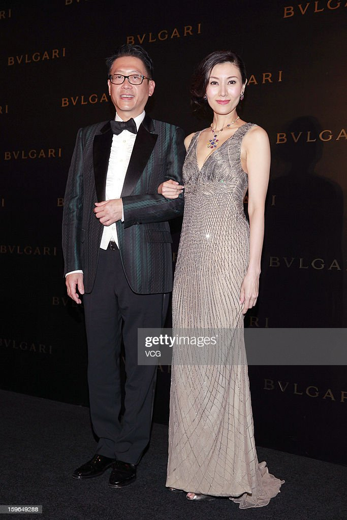 Actress Michelle Monique Reis (R) and her husband Julian Hsu attend Bulgari store opening reception on January 17, 2013 in Hong Kong, Hong Kong.