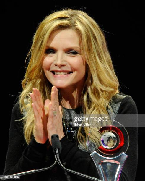 Actress Michelle Pfeiffer accepts the Cinema Icon Award at the CinemaCon awards ceremony at The Colosseum at Caesars Palace during CinemaCon the...