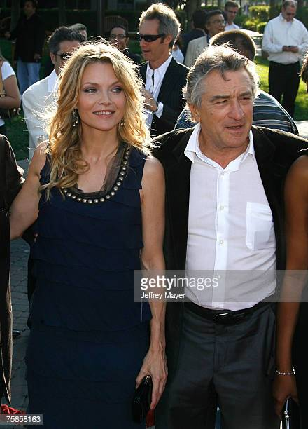 Actress Michelle Pfeiffer and actor Robert De Niro arrive at the ' Stardust ' Los Angeles premiere at Paramount Studio Theatre on July 29 2007 in Los...
