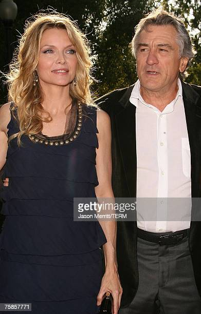 Actress Michelle Pfeiffer and actor Robert De Niro arrives to the Los Angeles premiere of 'Stardust' at Paramount Pictures on July 29 2007 in Los...