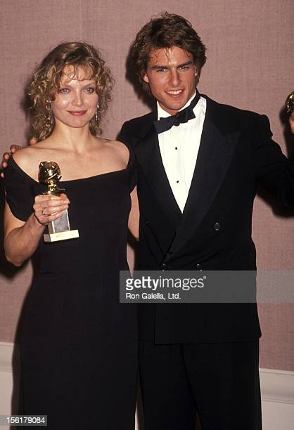 Actress Michelle Pfeiffer and actor Tom Cruise attend the 47th Annual Golden Globe Awards on January 20 19990 at Beverly Hilton Hotel in Beverly...