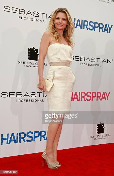 Actress Michelle Pfeiffer arrives to the Los Angeles premiere of New Line Cinema's 'Hairspray' held at Mann Village Theatre on July 10 2007 in...