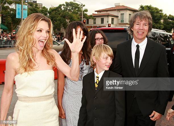 Actress Michelle Pfeiffer daughter Claudia Rose son John Henry and husband writer/producer David E Kelley arrive to the Los Angeles premiere of New...
