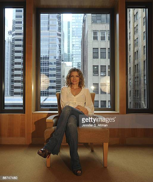 Actress Michelle Pfeiffer in a portrait session at the Four Seasons Hotel in New York