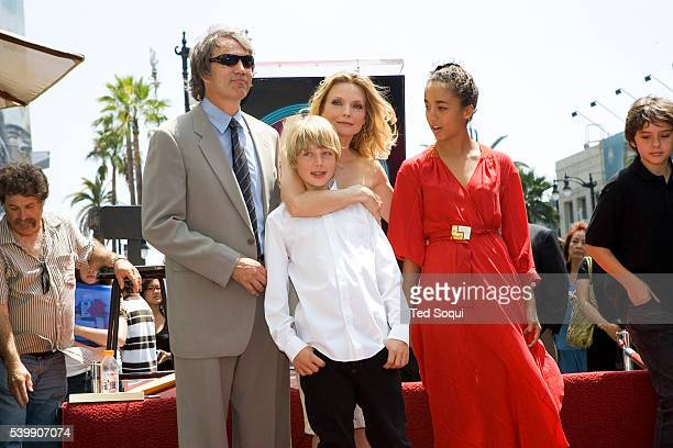 Actress Michelle Pfeiffer with her husband David E Kelley and children John and Claudia at the star ceremony for Pfeiffer on the Hollywood Walk of...