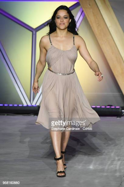 Actress Michelle Rodr'guez walks the runway at Fashion For Relief Cannes 2018 during the 71st annual Cannes Film Festival at Aeroport Cannes...