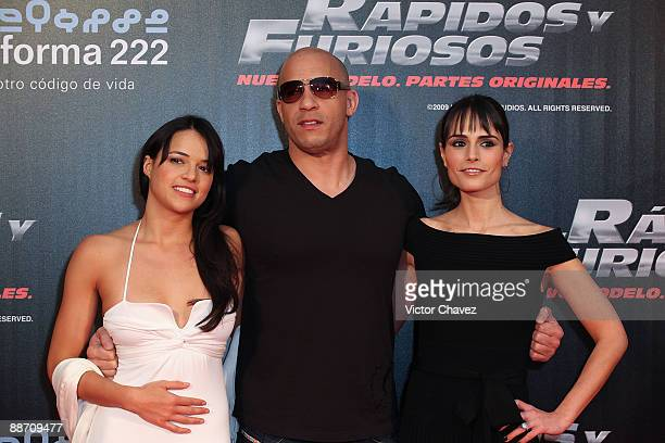 Actress Michelle Rodriguez actor Vin Diesel and actress Jordana Brewster attends the Fast Furious premiere at Cinemark Reforma 222 on March 27 2009...