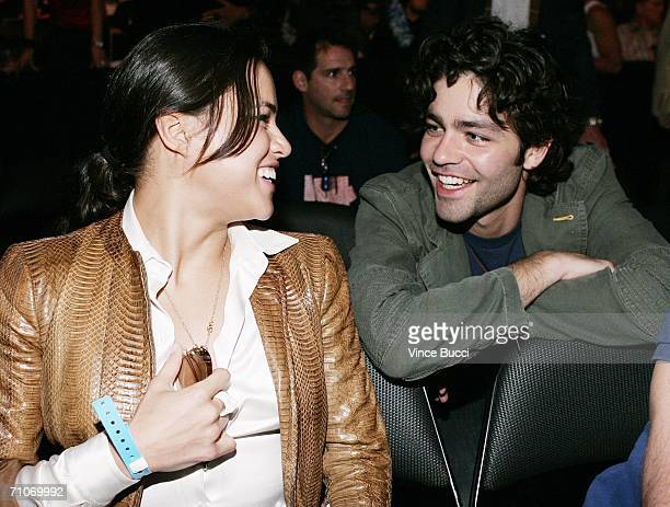 Actress Michelle Rodriguez and actor Adrian Grenier attend the Ultimate Fighting Championship 60 Hughes vs Gracie at Staples Center on May 27 2006 in...