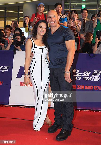 Actress Michelle Rodriguez and actor Vin diesel attend the 'Fast Furious 6' South Korea Premiere on May 13 2013 in Seoul South Korea Michelle...