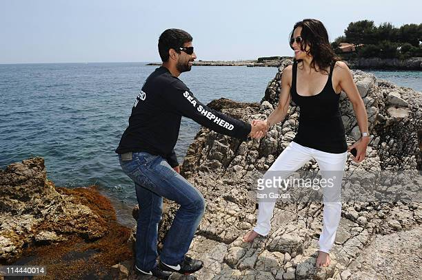 Actress Michelle Rodriguez and Sea Shepherd members attend the Sea Shepherd lunch sponsored by producers Mohammed Al Turki and Hamza Talhouni...