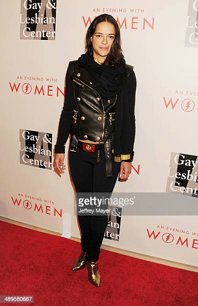 Actress Michelle Rodriguez arrives at the 2014 An Evening With Women Benefiting LA Gay Lesbian Center at the Beverly Hilton Hotel on May 10 2014 in...