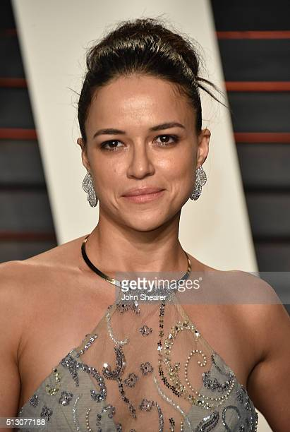 Actress Michelle Rodriguez arrives at the 2016 Vanity Fair Oscar Party Hosted By Graydon Carter at Wallis Annenberg Center for the Performing Arts on...