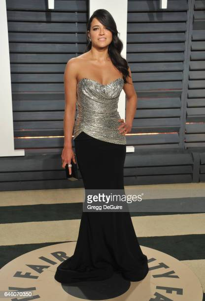 Actress Michelle Rodriguez arrives at the 2017 Vanity Fair Oscar Party Hosted By Graydon Carter at Wallis Annenberg Center for the Performing Arts on...