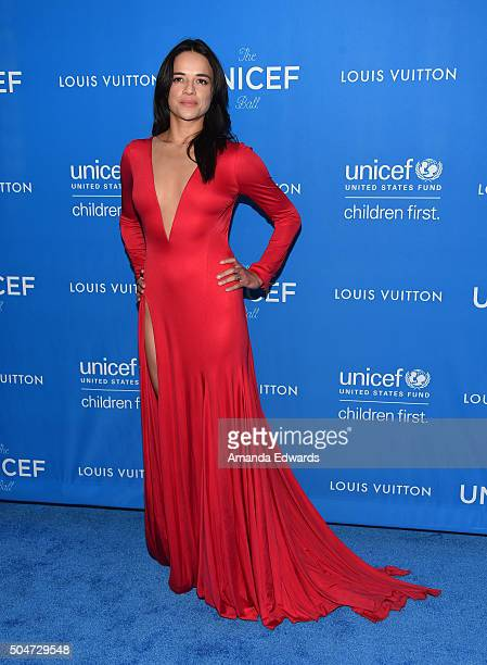 Actress Michelle Rodriguez arrives at the 6th Biennial UNICEF Ball at the Beverly Wilshire Four Seasons Hotel on January 12 2016 in Beverly Hills...