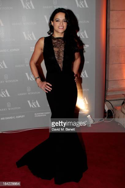 Actress Michelle Rodriguez arrives at the launch dinner for the new Hollywood Costume exhibition at the VA Museum on October 16 2012 in London...