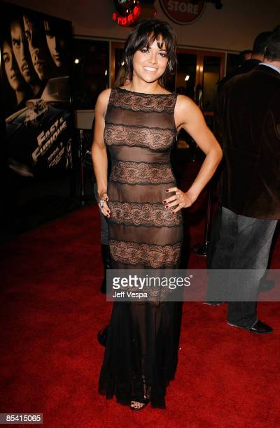 Actress Michelle Rodriguez arrives on the red carpet of the Los Angeles premiere of 'Fast Furious' held at the Gibson Amphitheatre on March 12 2009...
