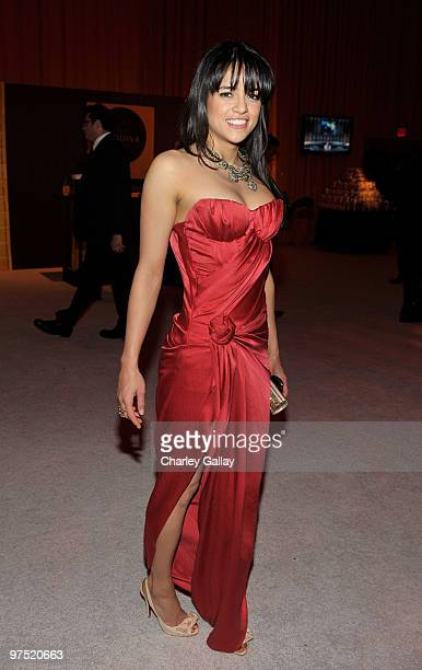 Actress Michelle Rodriguez attends Godiva at the 18th Annual Elton John AIDS Foundation Oscar party held at Pacific Design Center on March 7, 2010 in...