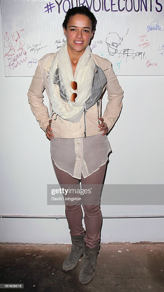 Actress Michelle Rodriguez attends Linda's Voice joining with 'The Vagina Monologues' One Billion Rising Campaign at Voice's Unsilenced Live Art Auction at LAB ART on February 16, 2013 in Los Angeles, California.
