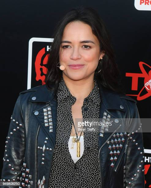 Actress Michelle Rodriguez attends opening weekend of the Twin Galaxies H1Z1 Pro League At Caesars Entertainment Studios on April 21 2018 in Las...