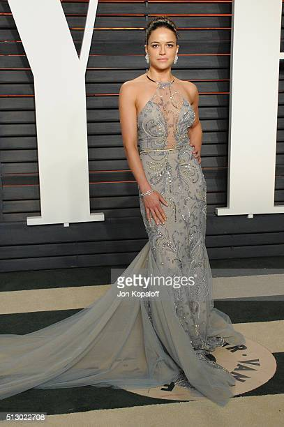 Actress Michelle Rodriguez attends the 2016 Vanity Fair Oscar Party hosted By Graydon Carter at Wallis Annenberg Center for the Performing Arts on...