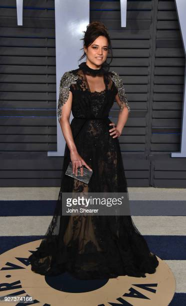 Actress Michelle Rodriguez attends the 2018 Vanity Fair Oscar Party hosted by Radhika Jones at Wallis Annenberg Center for the Performing Arts on...