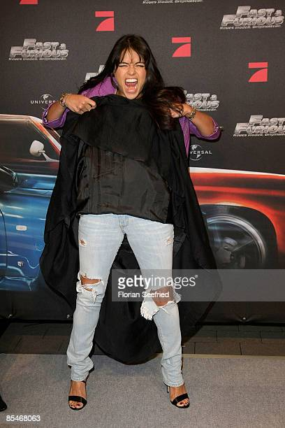 Actress Michelle Rodriguez attends the Europe premiere of 'The Fast and the Furious 4' at UCI cinema world at Ruhrpark on March 17 2009 in Bochum...